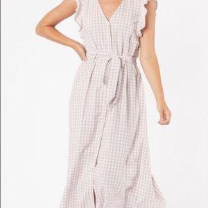 Zara size medium brow/cream coloured maxi dress .
